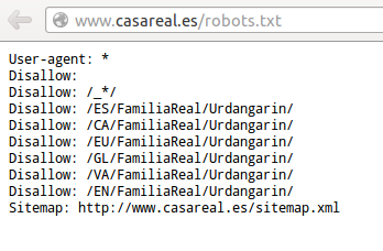 Captura del robots.txt de la casa real a 2013-02-28